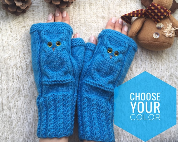 Fingerless mittens woman Christmas Wool gloves Mitts for girl Owl lovers gift Animal mittens Owl knit gifts Warm present for sister