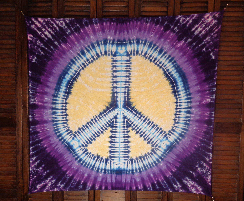 Tie Dye Tapestry Peace Sign Psychedelic Tie Dye Festival Flag | Etsy