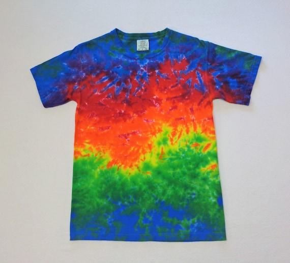 Tie Dye T Shirt S Mens Rainbow Marbled Psychedelic Etsy