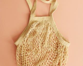 Long Handled Organic Cotton French String Bag