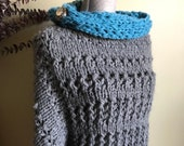 2pc Sweater Poncho, Cowl Hand Knit, Pullover Poncho, Gray Blue Alpaca Wool, Shoulder Warmer Wrap, Striped Poncho Artyarn