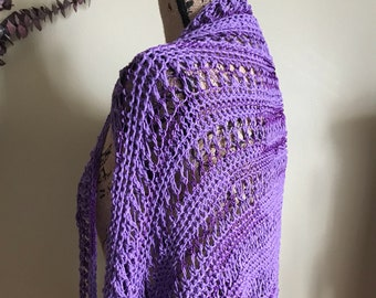 Hand Knit Shrug, Purple Cotton Viscose, Shoulder Warmer Shawl, Summer Accessories, Amethyst gifts Spring wrap, Dress bolero gifts for her