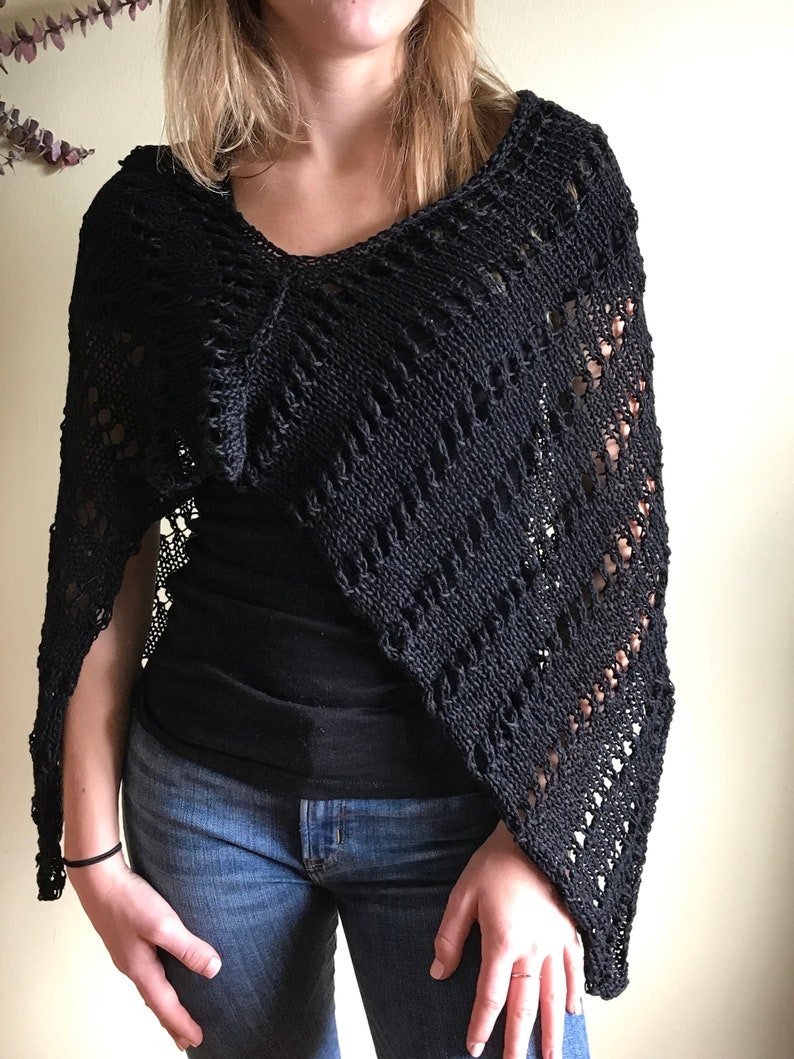 82a5dc12026d Hand Knit Sweater Poncho Black Hand Knit Women Dress Cover | Etsy