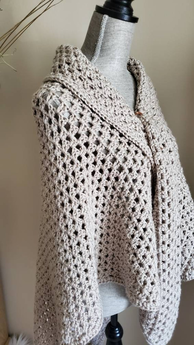 Ecru Beige Crocheted Shawl Extra Long Unigue Spring Summer poncho Fun Wrap Gift for Mothers