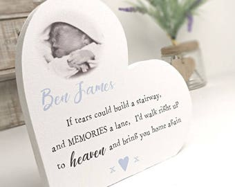 Personalised Freestanding Baby Remembrance Heart - If tears could build a stairway
