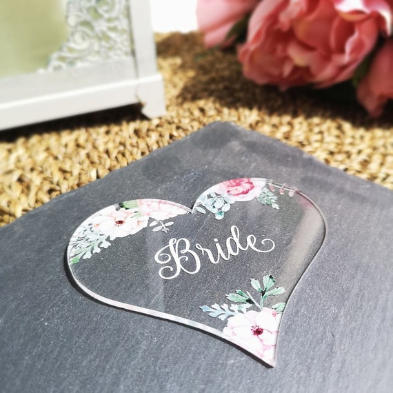 Personalised Heart Table Place Names - Vintage Rose - Clear