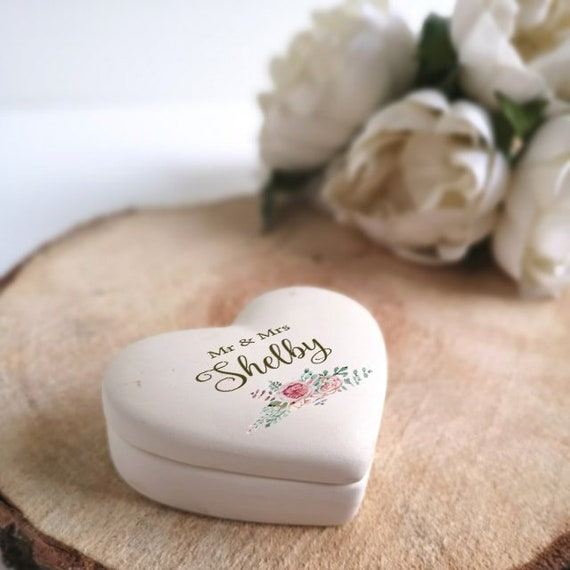 Vintage Rose Design Ceramic Ring Box with names and date - Personalised