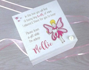 Personalised White Printed Tooth Fairy Box - Gift Idea