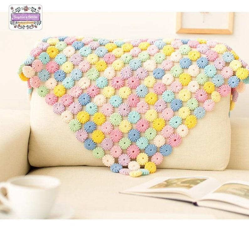 Throw Macaroons Blanket Baby Blanket CROCHET BLANKET Gift for her Baby Gift Square Blanket Child Blanket Handmade Crocheted Blanket