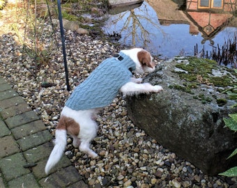 """Dog sweater """"Hedwig"""" 100% virgin wool, made of sports wool with a great shape resistance and superwash treatment, with braid pattern"""