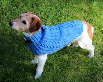 """Dog sweater """"Traute"""" 100% virgin wool, made of sports wool with a great shape resistance and superwash treatment, with braid pattern"""