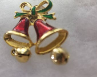 Huge 2 inch bell   Christmas brooch. Charm clackers.