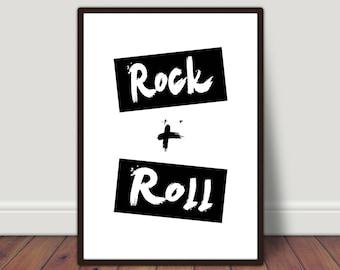 Rock and Roll Print, Monochrome print, music print, home print, digital print, poster, minimalist print, home decor, wall art, wall print