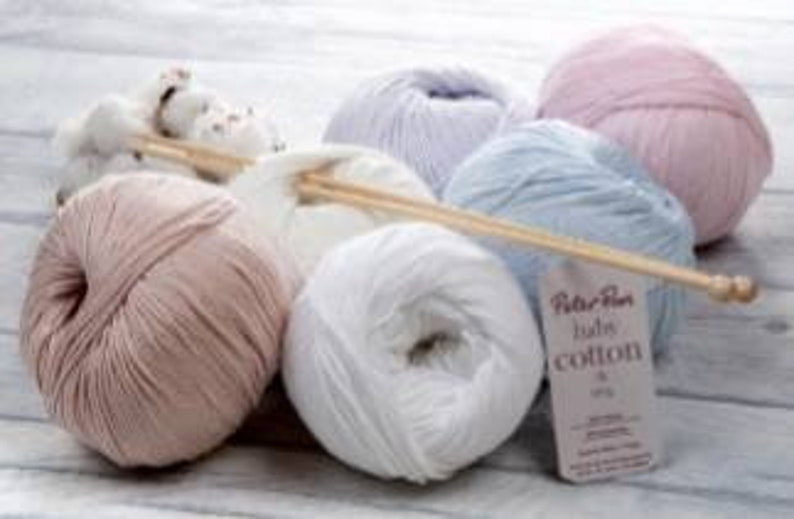 Peter Pan Baby cotton Double knit 100 grams white pink blue natural grey cream