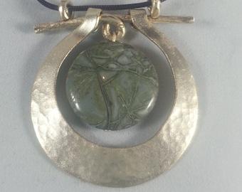 Green Jasper Gong Necklace