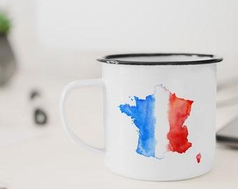 Francais, enamel camping mug.