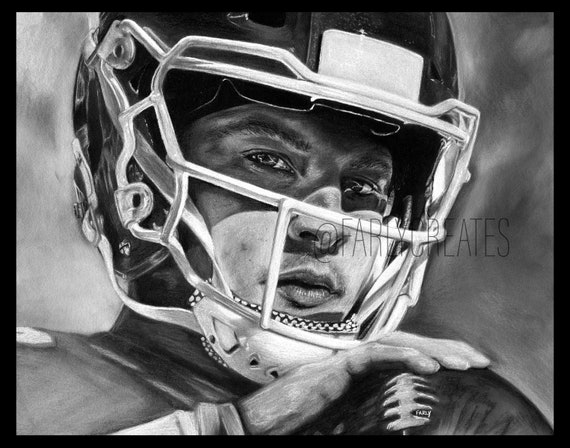 Kansas City Chiefs Quarterback Patrick Mahomes Drawing Print Version With Border