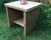 wooden wood side table reclaimed rustic chunky upcycle bespoke