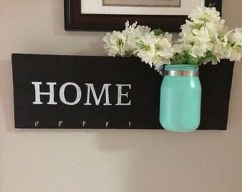Chalkboard Key Hanger with Ball Jar of Flowers