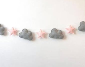 Bunting / garland - Grey cloud and pink star