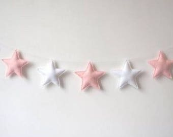 Bunting / garland - white and pink stars