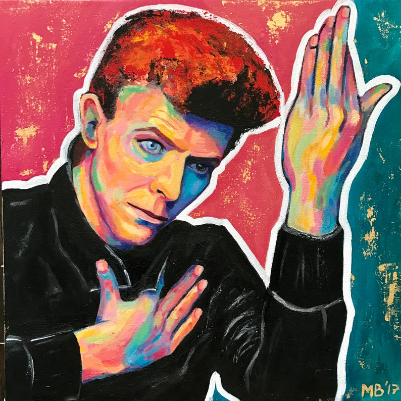 David Bowie portrait original painting 20x20 / image 0