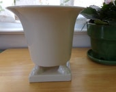 Lovely Footed Urn Shaped Creamy White Ceramic Planter with Classic Lines P 179 Mint Condition
