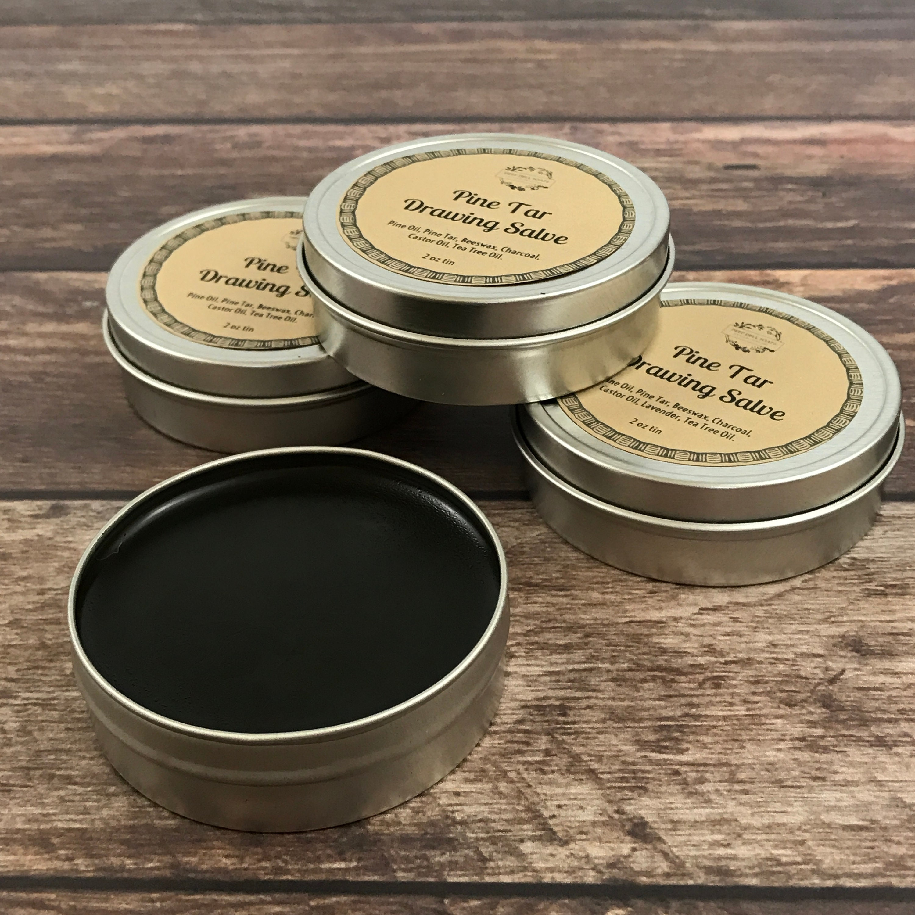 Pine Tar Drawing Salve - Organic Pine Tar - Creosote Free Pine Tar -  Activated Charcoal - Ichthammol Salve - Poison Ivy Ointment- Men's Gift