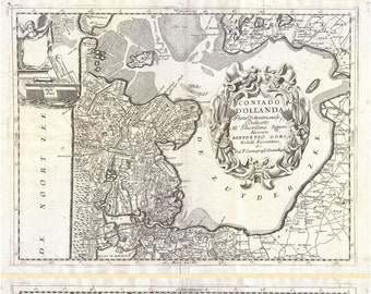 Map Of Holland; The Netherlands; Antique Map by Coronelli, 1692