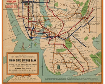 Nyc Subway Map Etsy