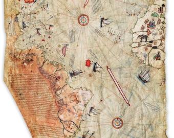 Piri Reis Map 1st map to show Americas /& Antarctica 24 X 36 High Gloss Poster
