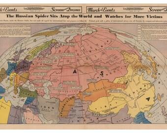 World map 1940 | Etsy
