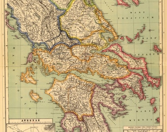 Ancient Greece Map Etsy