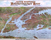 Map of New York City by Knickerbocker Beer 1912 Antique Birdseye Map