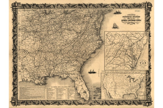Civil War Map; Forts & Political Division; Thayers 1861
