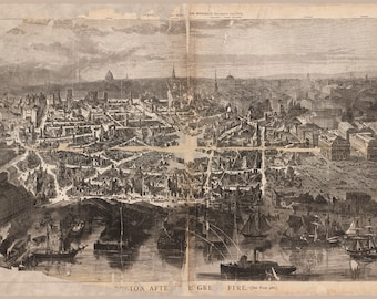 Map of Boston After the Great Fire Antique Map Custom Printed to Order