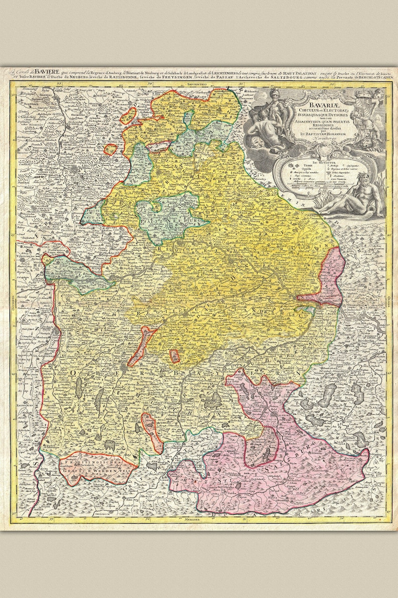 Bavaria Germany; Antique Map by Homann, 1728