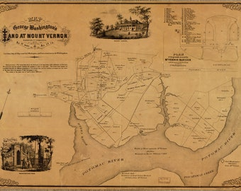 Map of George Washington's Mount Vernon; Antique Map, 1859