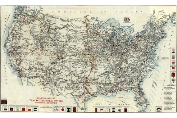 US Transcontinental Railroads, Antique Map; 1918; Custom Printed to Order