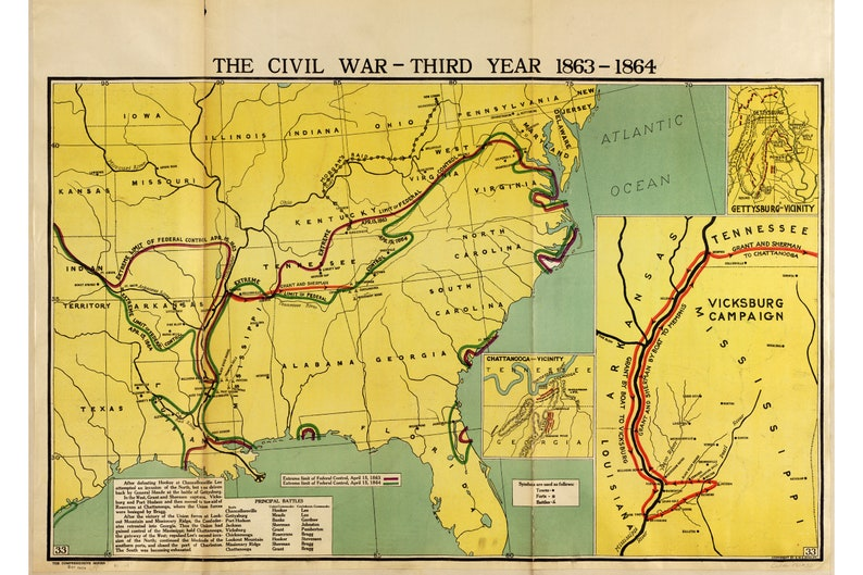 24x36 Vintage Civil War Map Gettysburg /& Vicinity The war with the South 1864