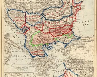 Treaty of Berlin; Turkey in Europe; Ottoman Empire; Antique Map, 1878