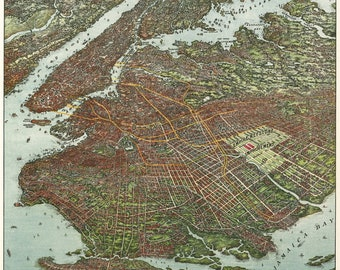 Map of Brooklyn, New York by Ohman; 1908; Antique Birdseye Map