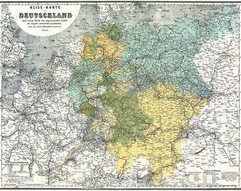 Germany; Deutschland; Antique Map 1861