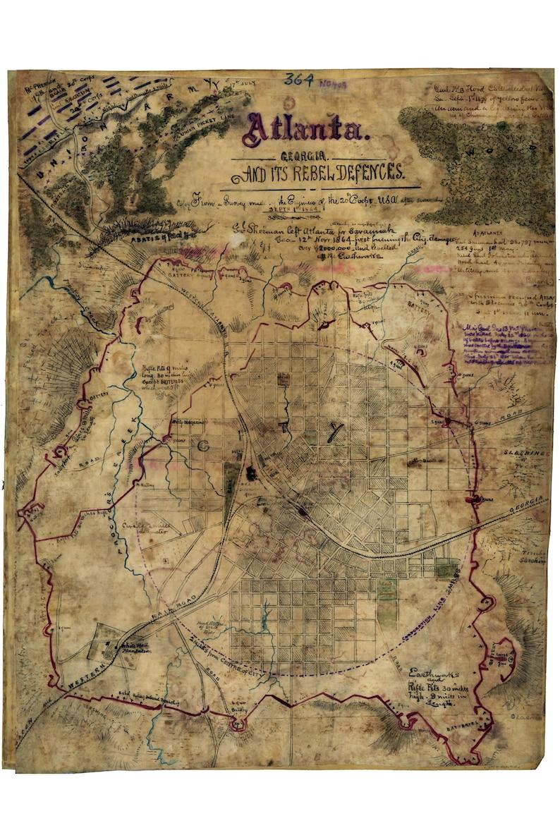 Map Of Georgia 1865.Civil War Defences Of Atlanta Georgia 1865 Antique Civil War Map