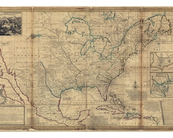 Map of America, French Territories; Antique Map, 1720