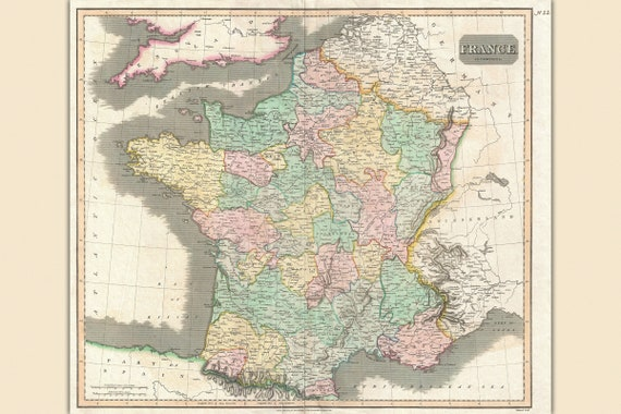 Thomson Illinois Map.France Antique Map By Thomson 1814 Etsy