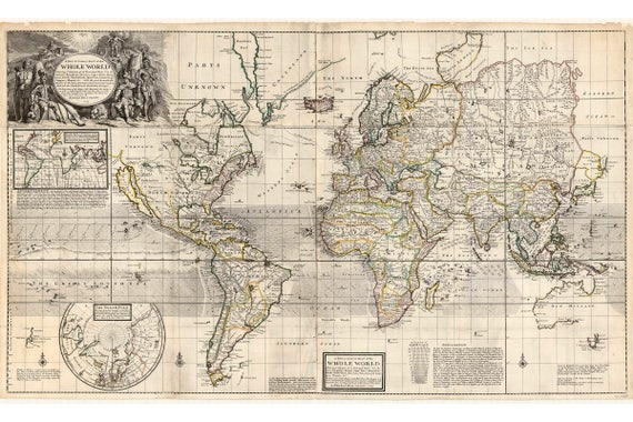 A New and Correct map of The Whole World (1719) by Moll