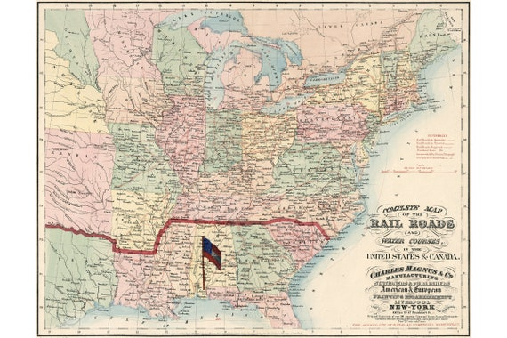 Map of U.S. Railroads and Water Courses, 1861; Antique Map; Custom Printed