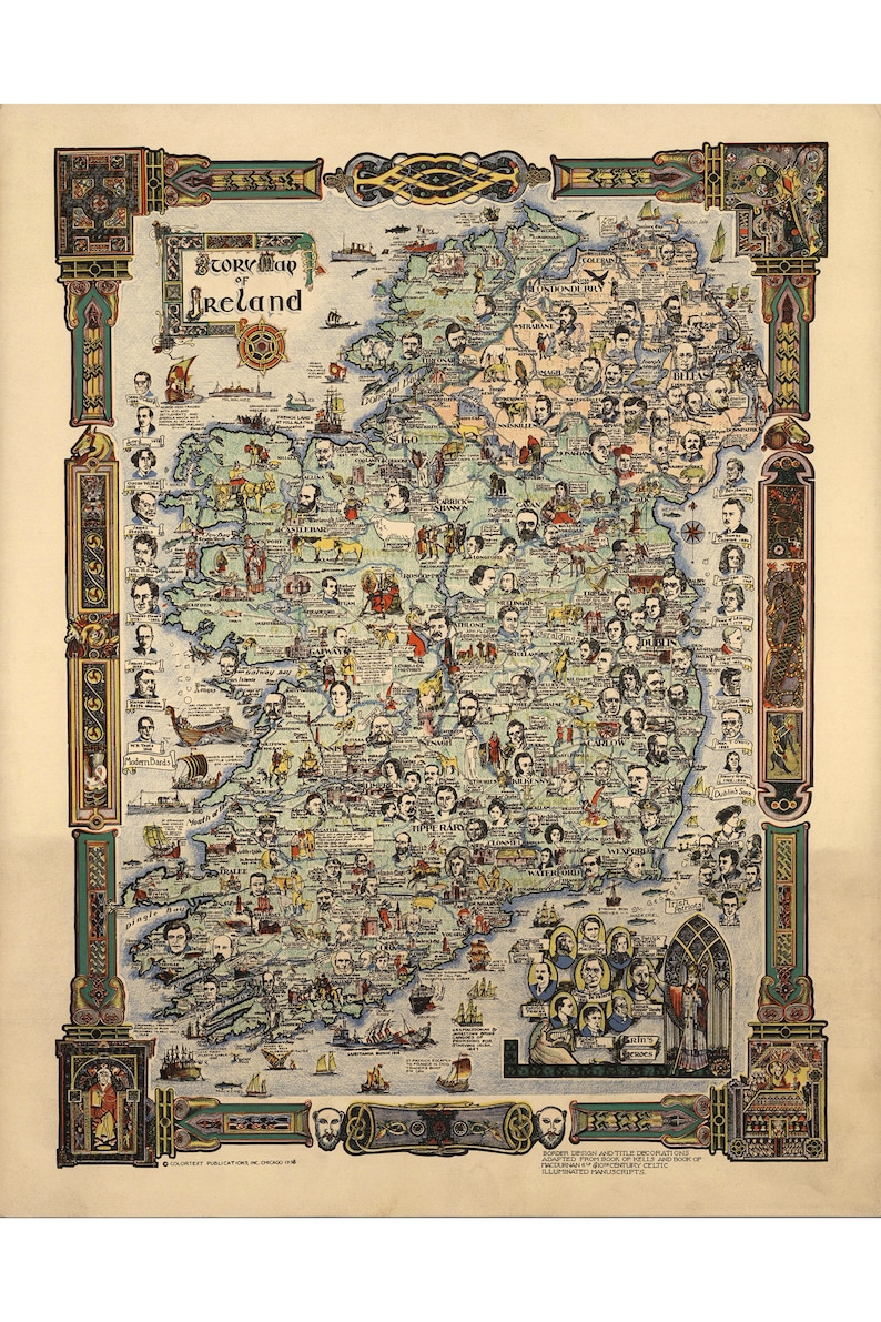 Map Of Ireland Historical Sites.Story Map Of Ireland With Historical Figures Etc Book Of Kells Style 1936