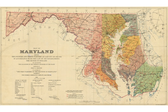 Map of Maryland; Counties and Parishes 1692-94; Pub. 1923, Percy Skrven